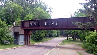 Soo Line Railroad - The eastern approach over Saint Anthony Parkway of the Canadian Pacific Camden Place Rail Bridge, Minneapolis, MN
