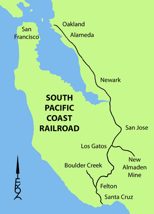 South Pacific Coast Railroad - Image: South Pacific Coast Railroad Map