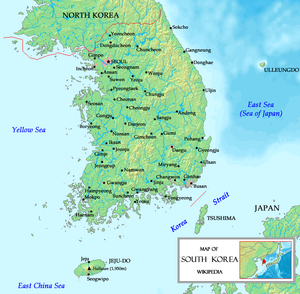 Map of the Korean peninsula with Jeju Island l...