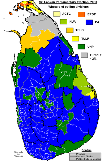 11th Parliament of Sri Lanka - Winners of polling divisions. PA in blue and UNP in green.