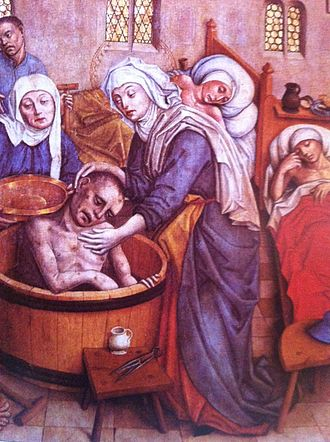Elizabeth of Hungary - St. Elizabeth washing a sick man  a scene from the main altar of St. Elisabeth Cathedral in Kassa, 15th century
