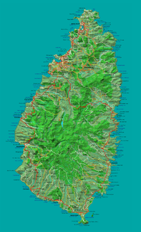 Detailed map of St Lucia showing location of Canaries