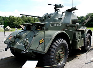 Free Belgian forces - A Staghound armoured car in the markings of the 1st Belgian Armoured Car Squadron of the Brigade Piron.