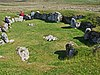 A ring of standing stones, which once formed Stanydale Temple's foundations