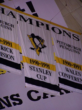 Pittsburgh Penguins 1991 Stanley Cup champions banner. Jagr was a part of the Penguins' roster that year Stanley cup banner 1.jpg