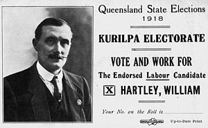William Hartley (politician) - Hartley's flyer for the 1918 Queensland State Election
