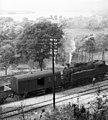 Steam locomotive, Hungarian Railways, railway, aerial wire, MÁV Class 375 Fortepan 30765.jpg