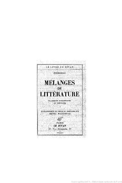 File:Stendhal - Mélanges de littérature, I, 1933, éd. Martineau.djvu