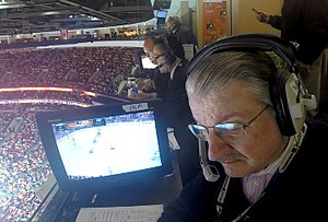 Steve Cangialosi - Steve Cangialosi (center) broadcasting a NJ Devils game on MSG Network