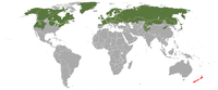Distribución no mundo (verde: nativa, vermello: introducida)