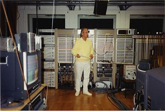 Electronic music - Karlheinz Stockhausen in the Electronic Music Studio of WDR, Cologne, in 1991