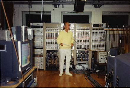 Karlheinz Stockhausen in the Electronic Music Studio of WDR, Cologne, in 1991 Stockhausen 1991 Studio.jpg