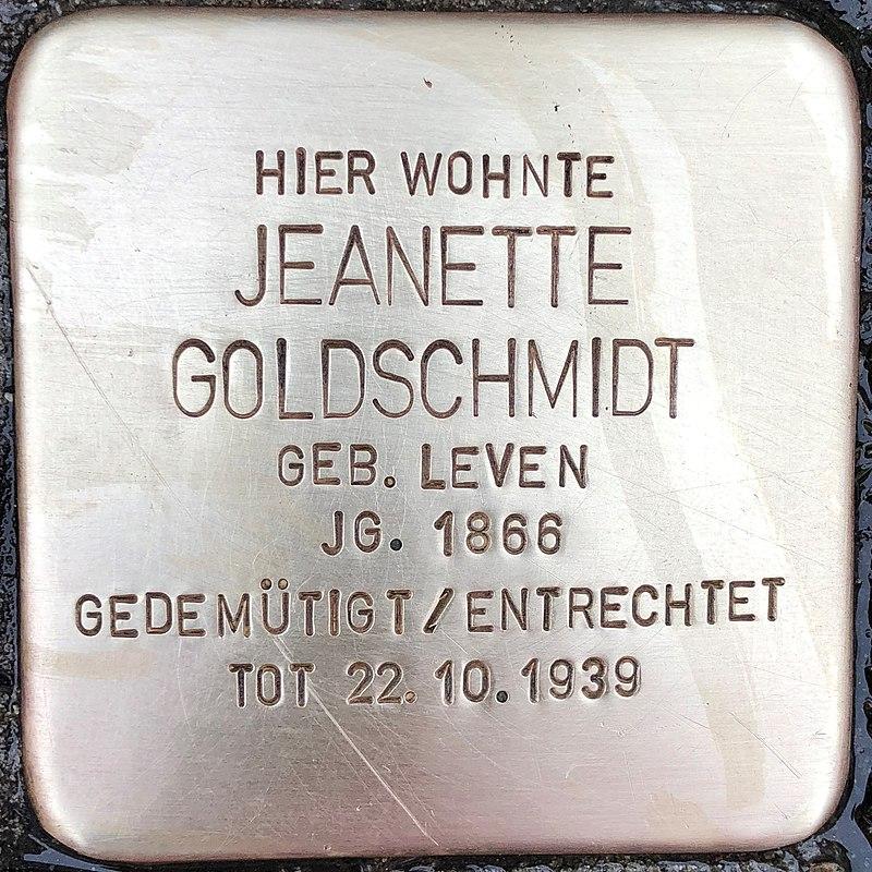 Stolperstein für Jeanette Goldschmidt (Niederstraße 38)
