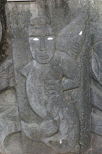 Avatea - A basalt stone relief depicting Avatea in Rarotonga, Cook Islands.