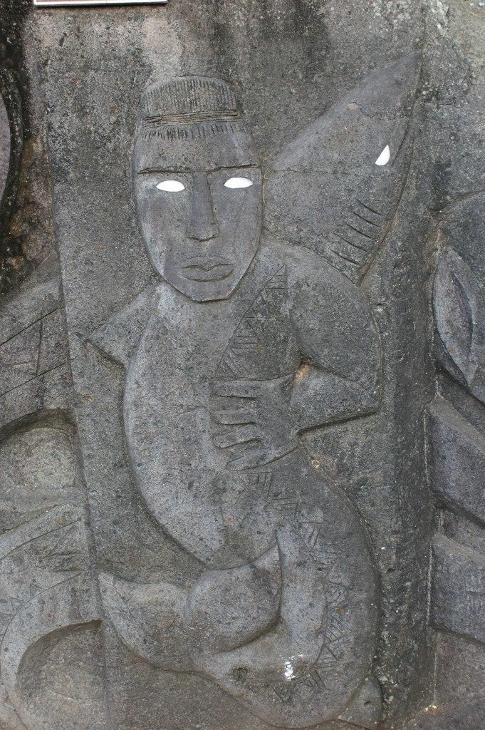 Stone carving in Rarotonga, Cook Islands