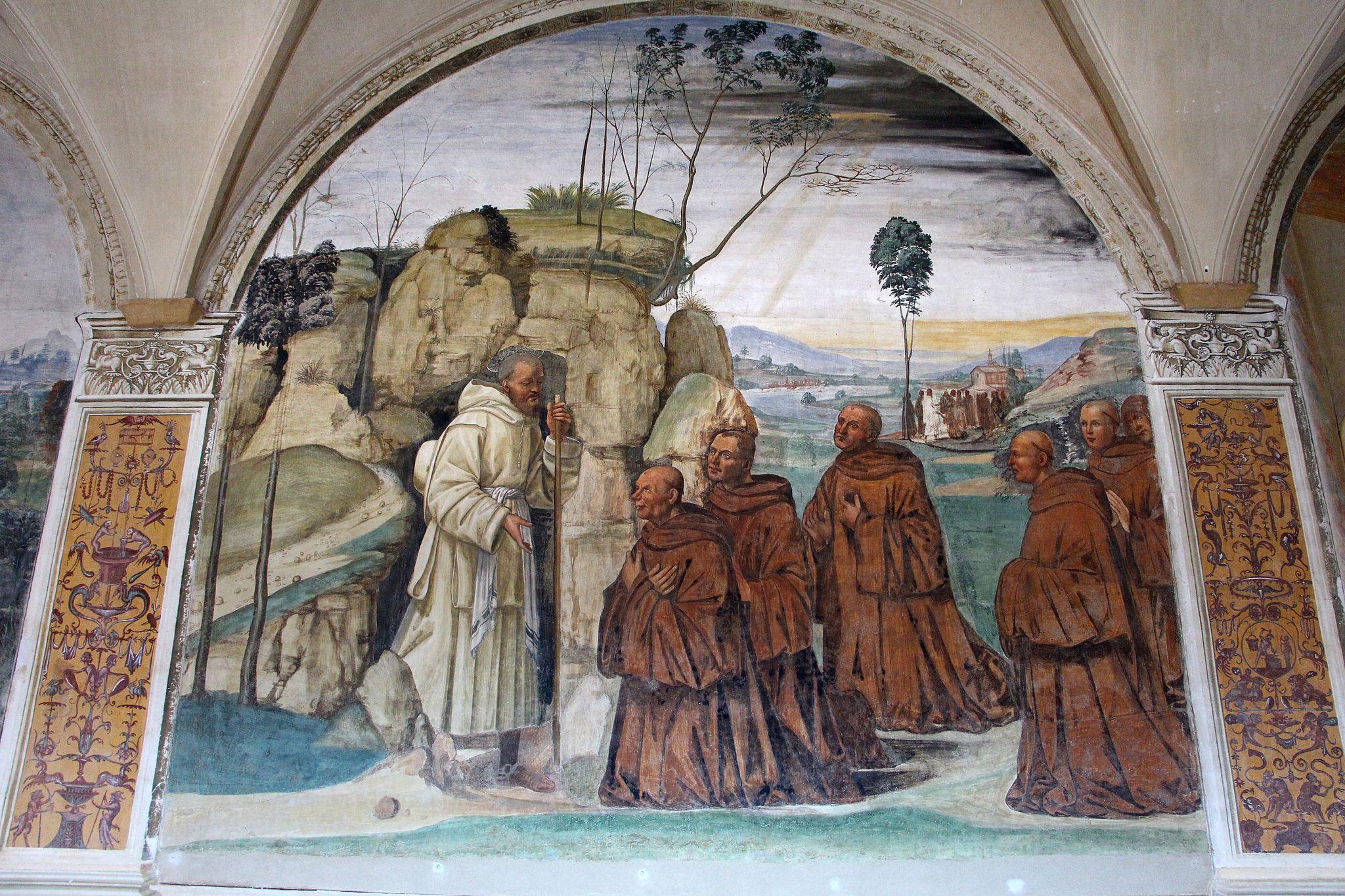 Il Sodoma, Le storie di San Benedetto, Scena 8, Come Benedetto ai prieghi di alcuni eremiti consente di essere loro capo, Abbazia di Monte Oliveto Maggiore, Il Cloistro Grande