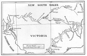 Land exploration of Australia - Route of the Sturt, Hume and Hovell expeditions