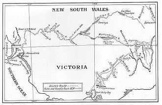 Hume and Hovell expedition - Hume and Hovells 1824 expedition is shown by the broken line