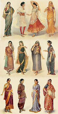 Illustration of different styles of Sari & clothing worn by women in