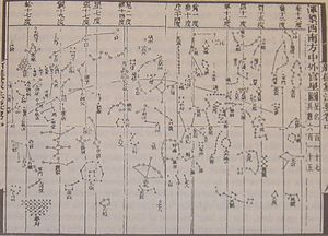 Science and technology of the Song dynasty - One of five star maps published in Su Song's horological and astronomical book of 1092 CE, featuring Shen Kuo's corrected position of the pole star as well as a cylindrical projection similar to Mercator projection