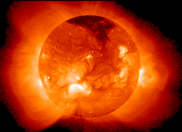 Magnetic reconnection in the solar plasma gives rise to solar flares, a complex magnetohydrodynamical phenomenon. Sun in X-Ray.png