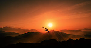 Sunset flying above Himalayas