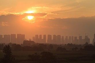 Wuwei County - Sunset in Wuwei, view from Hefei–Fuzhou High-Speed Railway