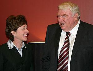 Oakland Raiders - John Madden (right, shown with Senator Susan Collins) was head coach of the Raiders for 10 seasons. Madden's overall winning percentage including playoff games ranks second in league history. He won a Super Bowl and never had a losing season as a head coach.