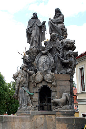 Felix of Valois - Statues of John of Matha, Felix of Valois and Saint Ivan, Charles Bridge, Prague