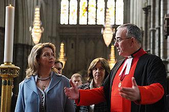 John Hall (priest) - John Hall with Svetlana Medvedeva at Westminster Abbey on 1 April 2009