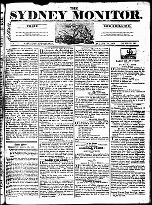 The Monitor (Sydney) - Front page of The Sydney Monitor, Saturday 16 August 1828