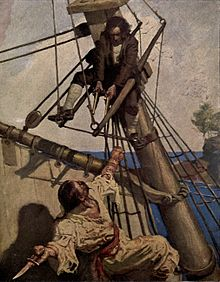 Painted illustration by Newell Convers Wyeth from a 1911 edition of Treasure Island. Jim Hawkins points two flintlock pistols at the knife-wielding pirate Israel Hands while both are climbing the rigging.