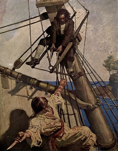 In the rigging of a ship, a man in the top of the image, braced against the mast, points two pistols at a man in the bottom of the image wielding a knife.