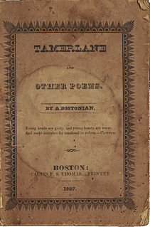 <i>Tamerlane and Other Poems</i> 1827 book by Edgar Allan Poe