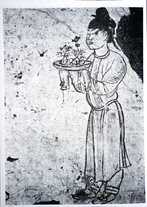 Penjing - Tang Dynasty prince Zhang Huai tomb mural (AD 706), with tray of pebbles and miniature fruit trees