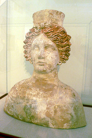 Tanit - Bust of Tanit found in the Carthaginian necropolis of Puig des Molins, dated 4th century BC, housed in the Museum of Puig des Molins in Ibiza, Spain