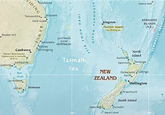 Ocean fisheries - Map of the Tasman Sea