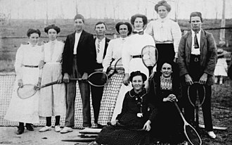 Florence Broadhurst - Tennis Party at Mount Perry (Florence Broadhurst is second from left.)