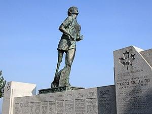 Statue of marathon runner Terry Fox overlookin...