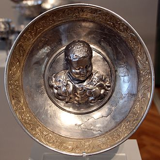 Hercules in ancient Rome - A Roman gilded silver bowl depicting the boy Hercules strangling two serpents, from the Hildesheim Treasure, 1st century AD, Altes Museum