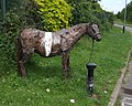 Tethered horse next to cycleway on 'The Lunt' - geograph.org.uk - 452815.jpg