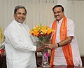 The Chief Minister of Karnataka, Shri Siddaramaiah calling on the Union Minister for Chemicals and Fertilizers, Shri Ananthkumar, in New Delhi on June 05, 2014.jpg