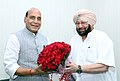 The Chief Minister of Punjab, Captain Amarinder Singh calling on the Union Home Minister, Shri Rajnath Singh, in New Delhi on April 22, 2017.jpg
