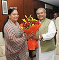 The Chief Minister of Rajasthan, Smt. Vasundhara Raje Scindia meeting the Union Minister for Mines, Steel and Labour & Employment, Shri Narendra Singh Tomar, in New Delhi on July 03, 2014.jpg
