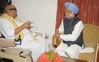 M. Karunanidhi - Karunanidhi meeting the then Prime Minister, Manmohan Singh, in Chennai, 2011