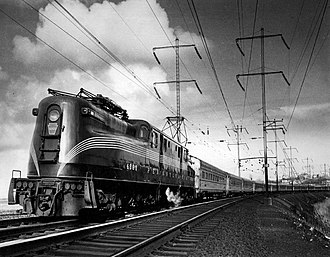 Northeast Corridor - The Congressional, a Pennsylvania Railroad train, after it leaves the Hudson River Tunnels on its way to Washington, DC., 1968