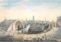 The Construction of New London Bridge alongside the old bridge by Gideon Yates, 1828.png