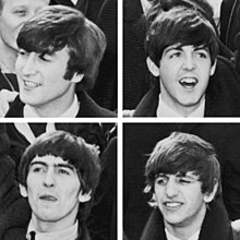 "Four greyscale images of young men with ""mop-top"" haircuts, separated by a white border. Lennon (top left) is looking towards the left of the frame (his right), with exposed teeth. McCartney (top right) is facing forward with an opened mouth. Harrison (bottom left) has his right arm raised and his tongue stuck out slightly as if licking his lips. Starr's teeth are visible, and his left eye is closed as if winking. All four are dressed in white shirts, black ties, and dark coats."