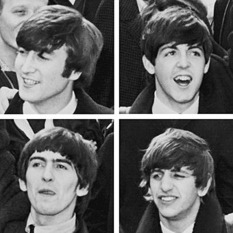 The Beatles were a highly successful and innovative British rock and roll band. The Fabs.JPG
