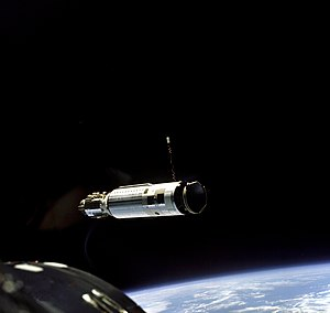 Atlas-Agena - The Agena Target Vehicle as seen from Gemini 8 during rendezvous, March 16, 1966